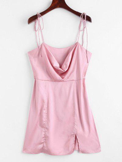 Satin Tie Shoulder Cowl Front Slit Dress - Light Pink S