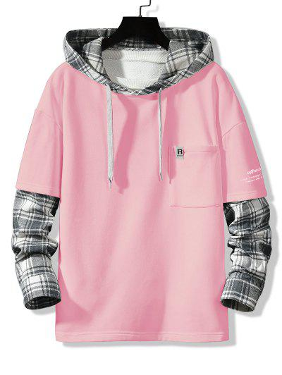 Letter Print Plaid Faux Twinset Hoodie - Pink S
