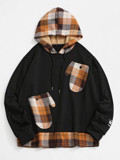 Plaid Print Glove Pockets Faux Twinset Fleece Hoodie - Black L