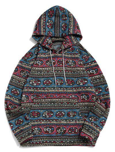 Tribal Geometric Pattern Fleece Hoodie