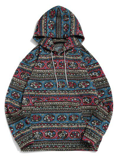 Tribal Geometric Pattern Fleece Hoodie - Multi L