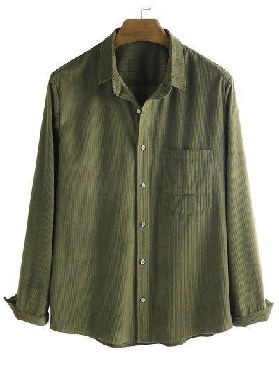 Button Up Corduroy Pocket Shirt - Deep Green M