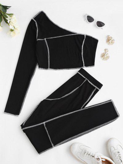 ZAFUL Ribbed Exposed Seams One Shoulder Pants Set - Black Xl