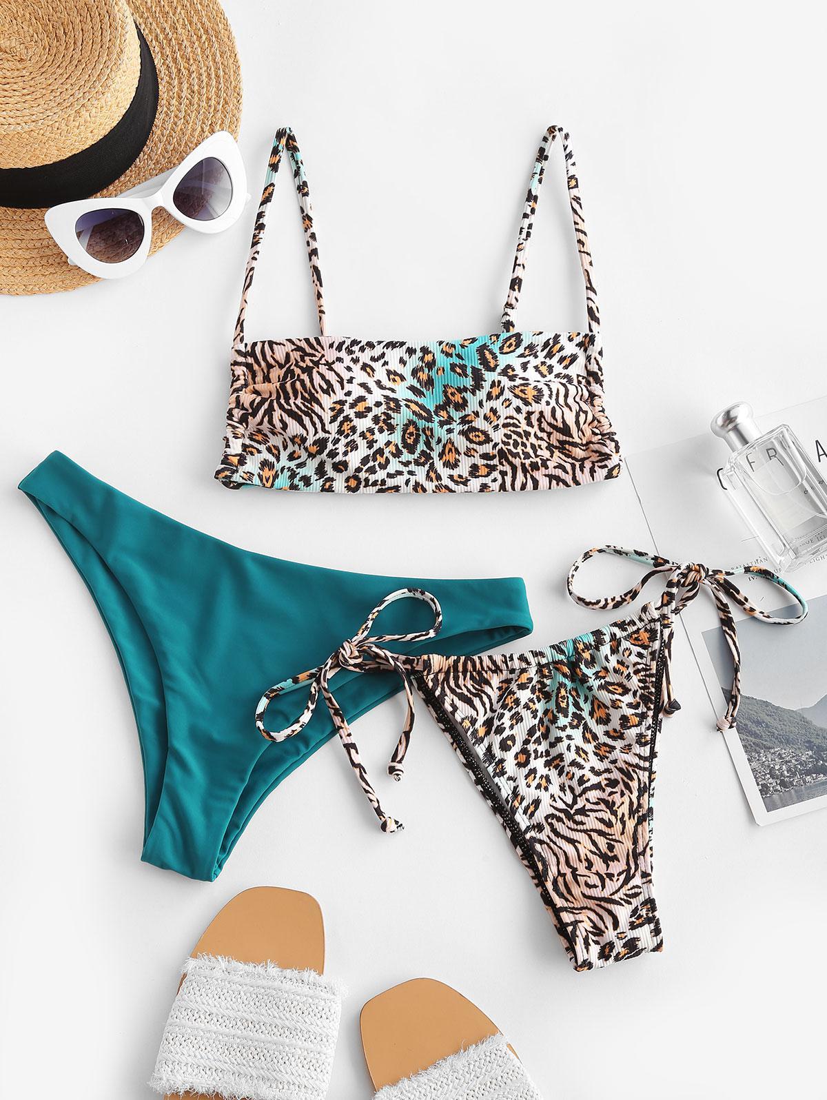 ZAFUL Tied Leopard Print Three Piece Bikini Swimwear