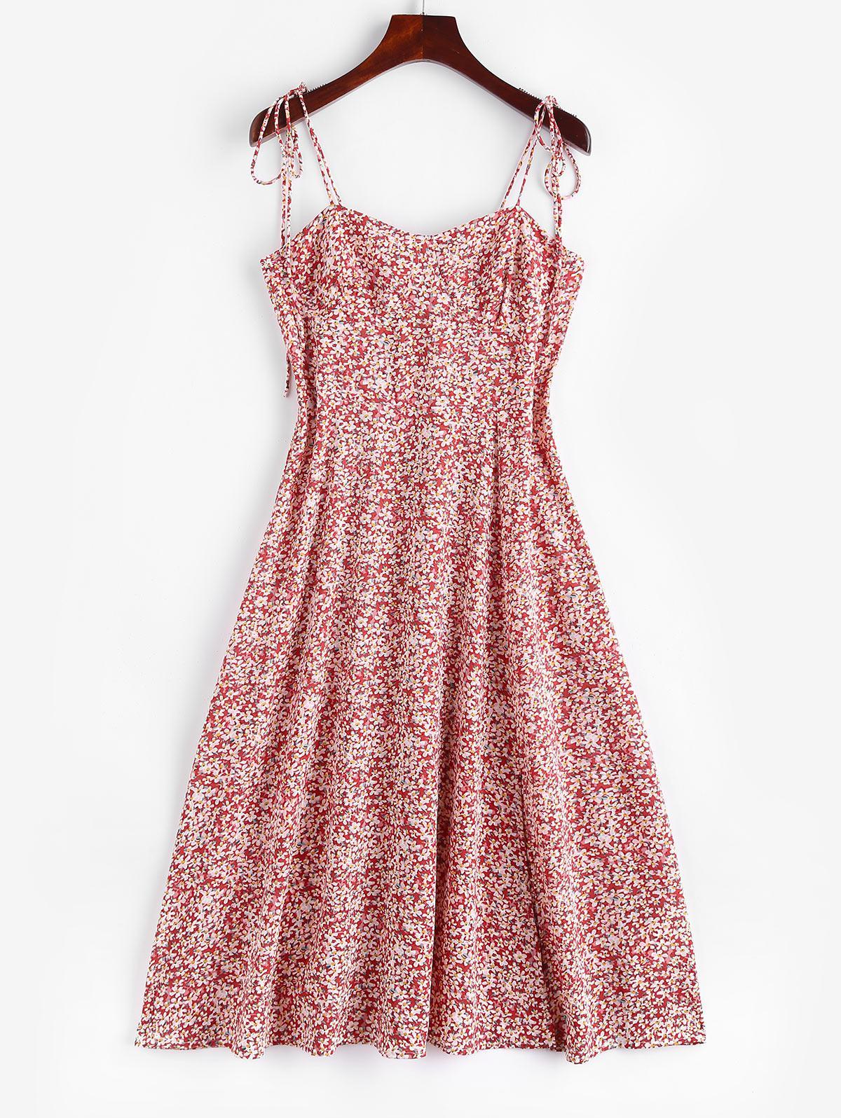 Zaful Tiny Floral Tie Shoulder Slit Midi Dress