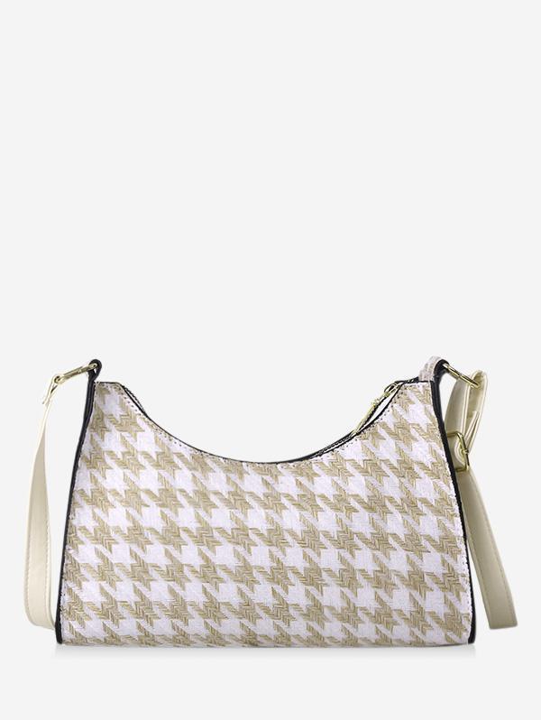 Houndstooth Colorblock Shoulder Bag