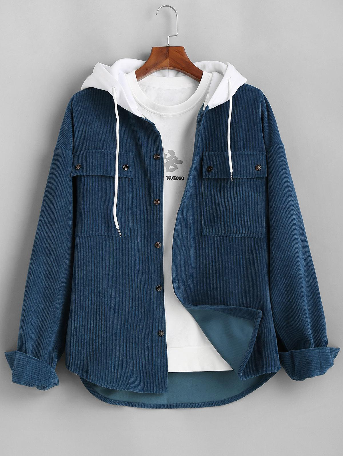Colorblock Hooded Corduroy Shirt Jacket