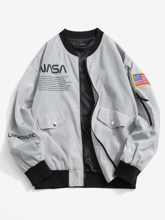 online Letter Print American Flag Embroidered Jacket - LIGHT GRAY L