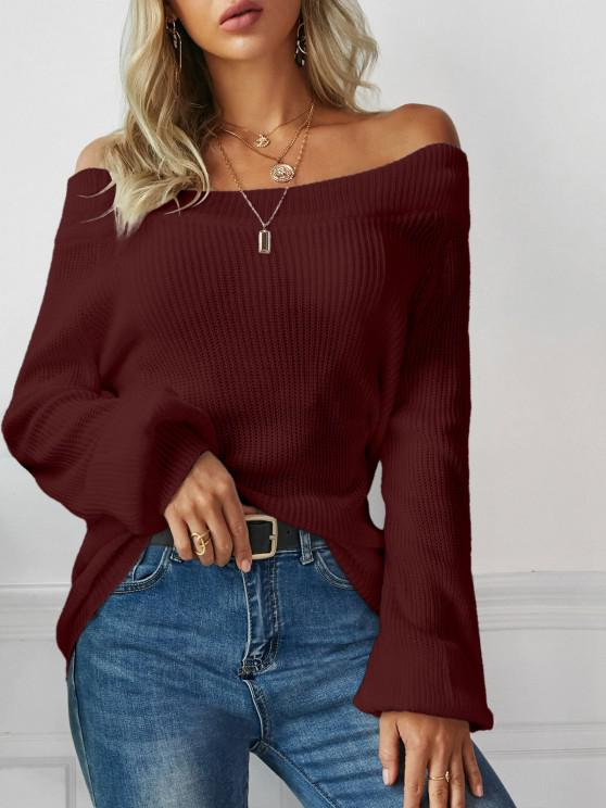 buy Off The Shoulder Lantern Sleeve Pullover Sweater - RED WINE ONE SIZE