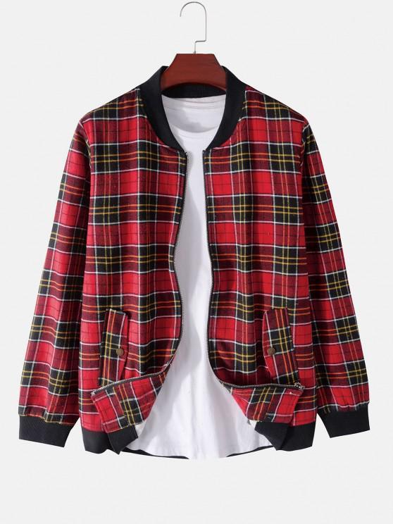 buy Plaid Print Rib-knit Trim Fleece Jacket - RED XL