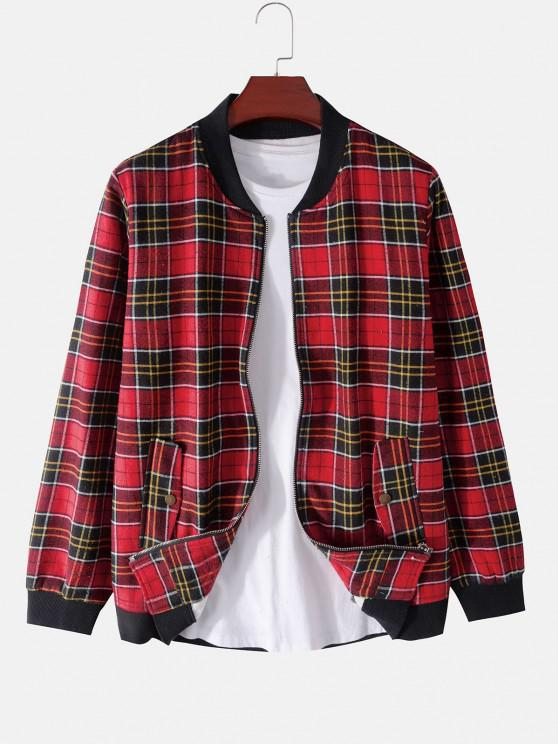 fashion Plaid Print Rib-knit Trim Fleece Jacket - RED 2XL