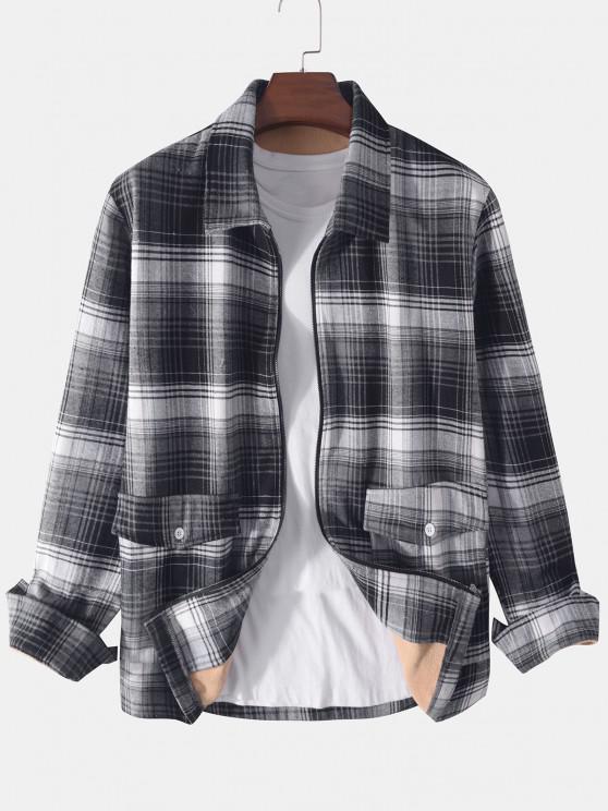 chic Plaid Print Double Pockets Fleece Jacket - BLACK XL