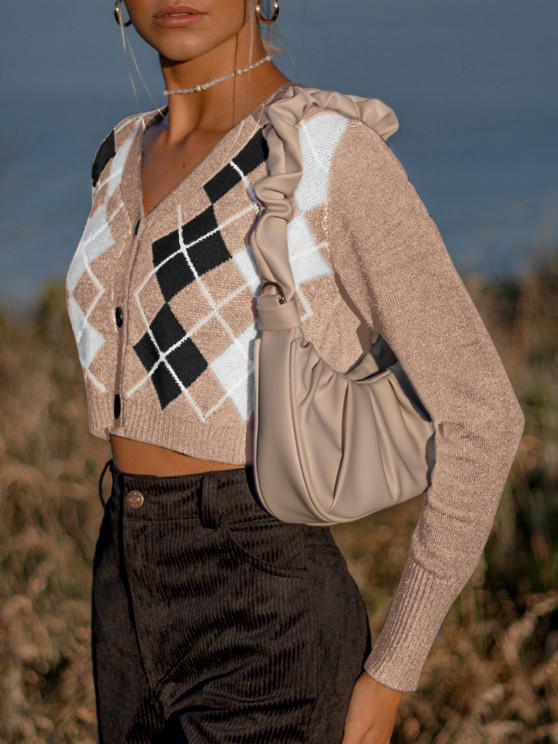 womens Argyle Button Up V Neck Crop Cardigan - LIGHT COFFEE ONE SIZE