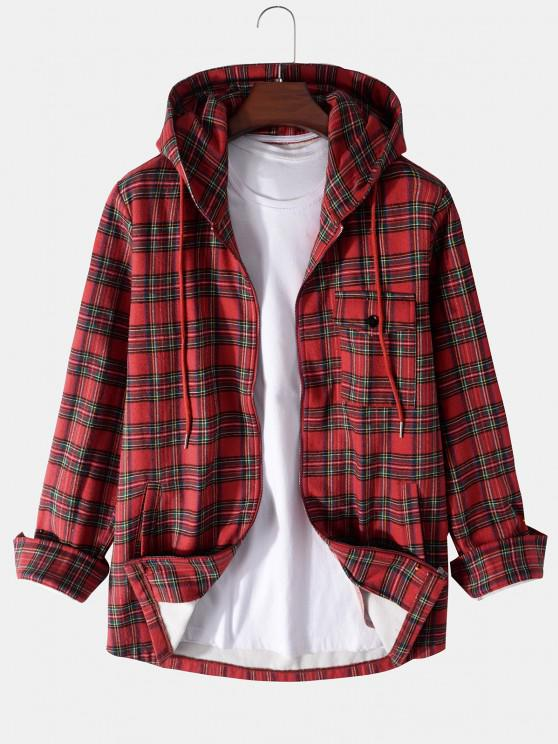 chic Plaid Pattern Pocket Fleece Hooded Jacket - RED M