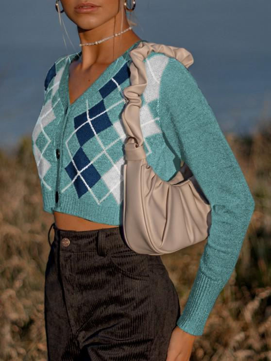 women's Argyle Button Up V Neck Crop Cardigan - GREENISH BLUE ONE SIZE