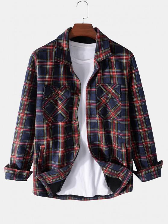 Plaid Print Multi Pockets Fleece Jacket - ازرق غامق XL