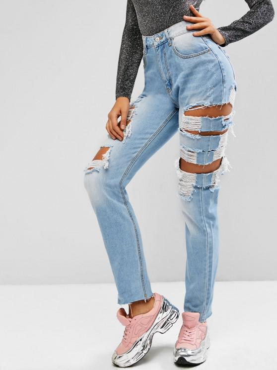 Ripped Cutout Raw Hem High Rise Jeans - أزرق فاتح L