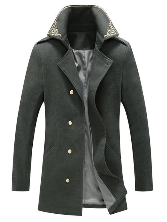 ladies Flower Embroidered Double Breasted Wool Blend Coat - GRAY XL