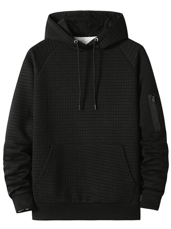 fashion Raglan Sleeve Front Pocket Plaid Emboss Hoodie - BLACK XL
