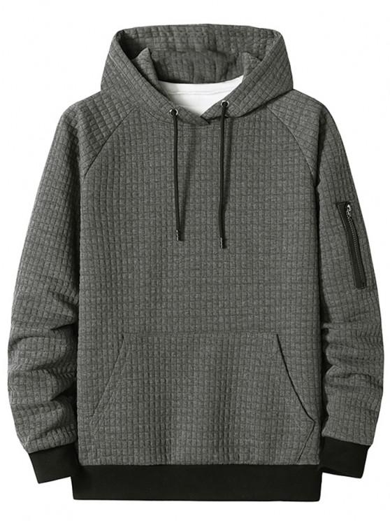 Raglan Sleeve Front Pocket Plaid Emboss Hoodie - الرمادي الداكن M