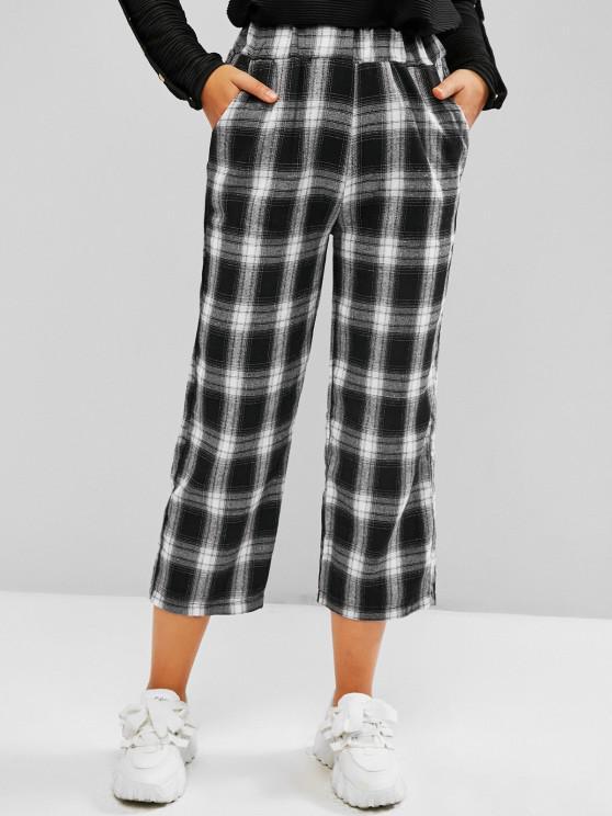 Pantalon Droit à Carreaux avec Poche - Noir L