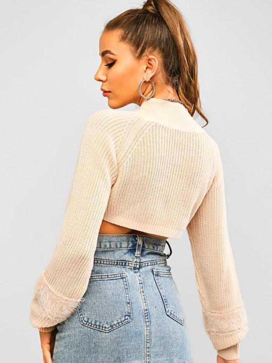 High Neck Fuzzy Detail Raglan Sleeve Crop Sweater - Light Coffee S | ZAFUL