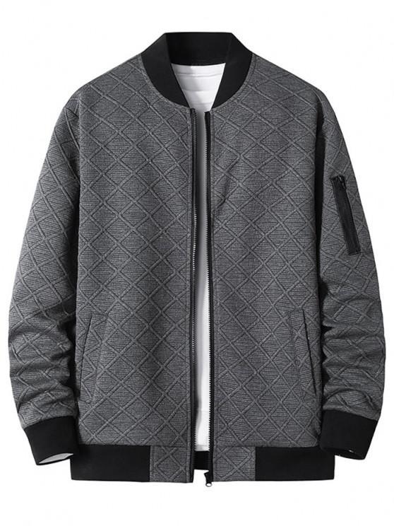 Zipper Pocket Grid Jacquard Zip Up Jacket - الرمادي الداكن M