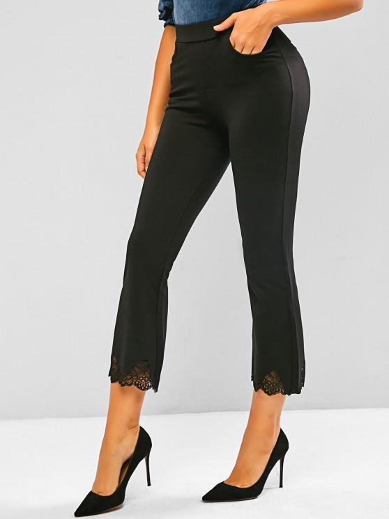 Lace Hem Slant Pocket Flare Pants - أسود S