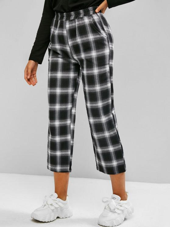 Checked Plaid Pull On Pocket Pants - أسود L