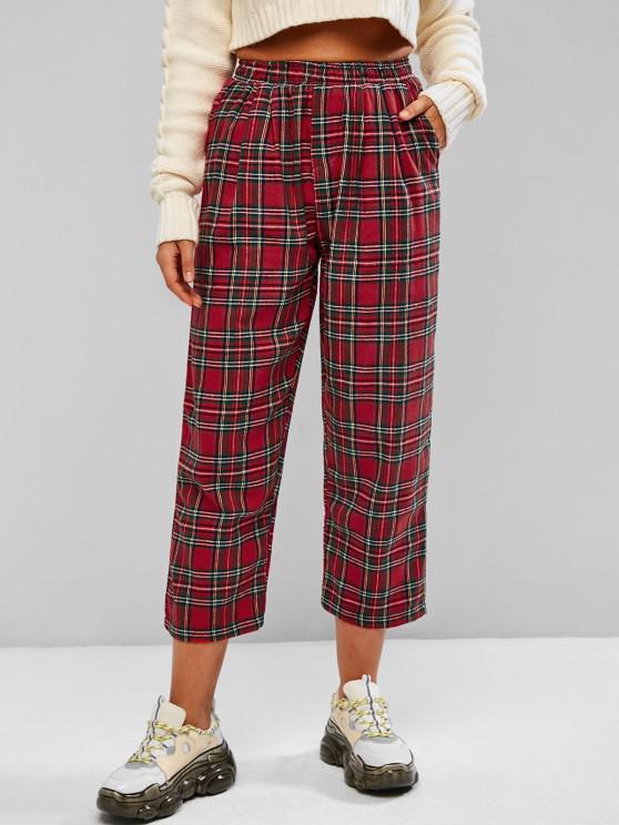 fashion Checked Plaid Pocket Pull On Pants - RED L