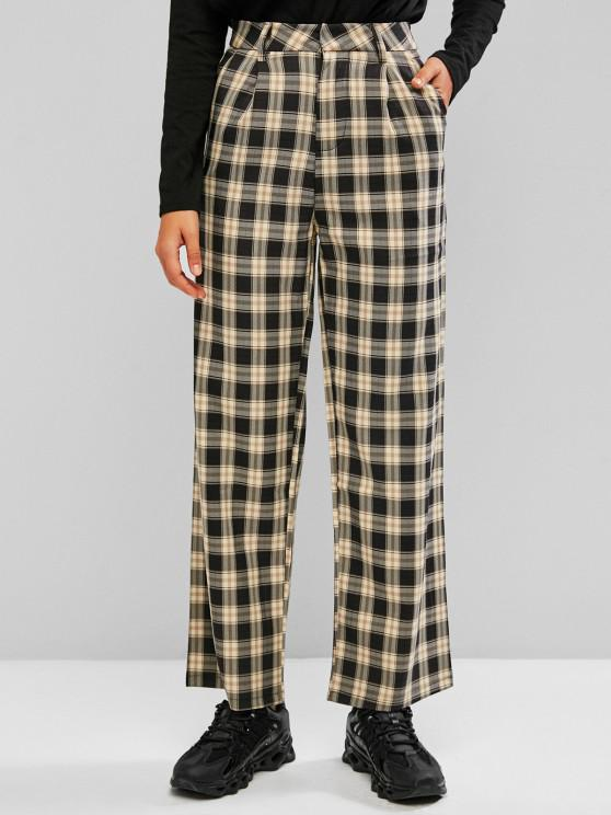online Plaid Slant Pocket Straight Loose Pants - LIGHT YELLOW M