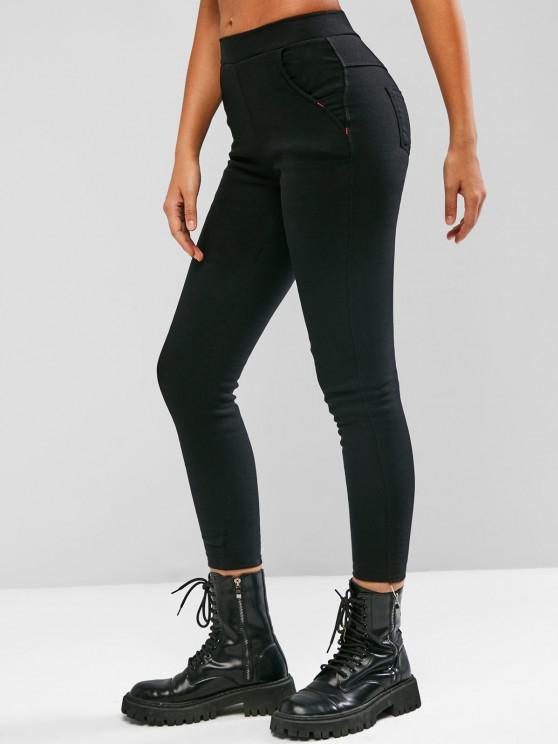 fashion Fleece Lined Pocket Skinny Pull On Ponte Pants - BLACK 2XL
