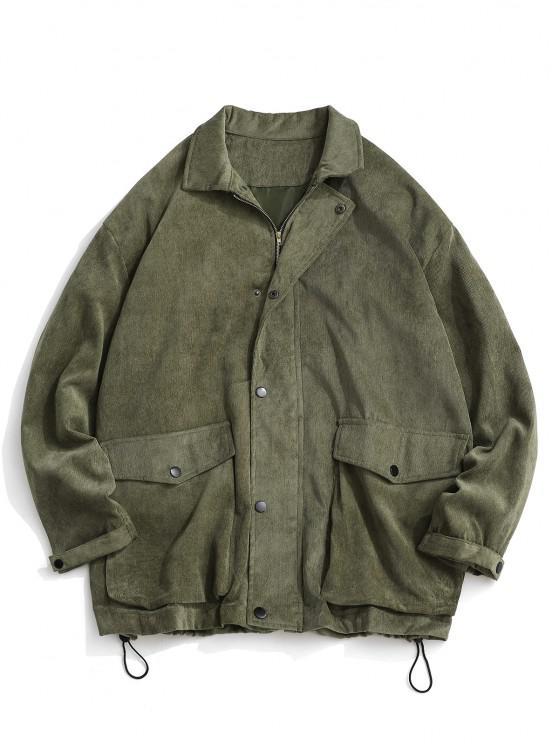best Double Pockets Zip Up Corduroy Jacket - LIGHT GREEN M