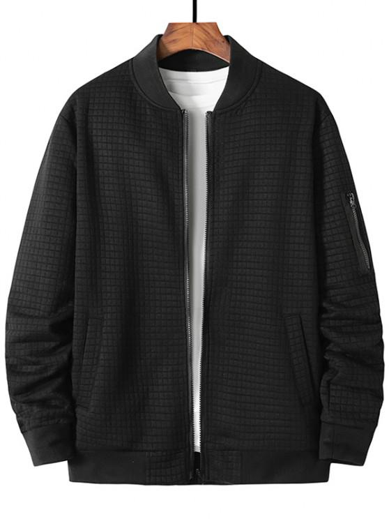 buy Plaid Emboss Zipper Pocket Zip Up Jacket - BLACK M