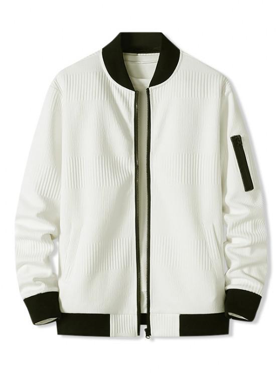 best Zipper Pocket Ribbed Zip Up Jacket - WHITE L
