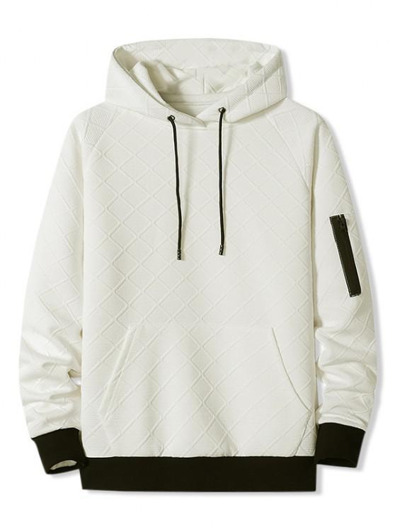 Front Pocket Grid Pattern Raglan Sleeve Hoodie - أبيض L