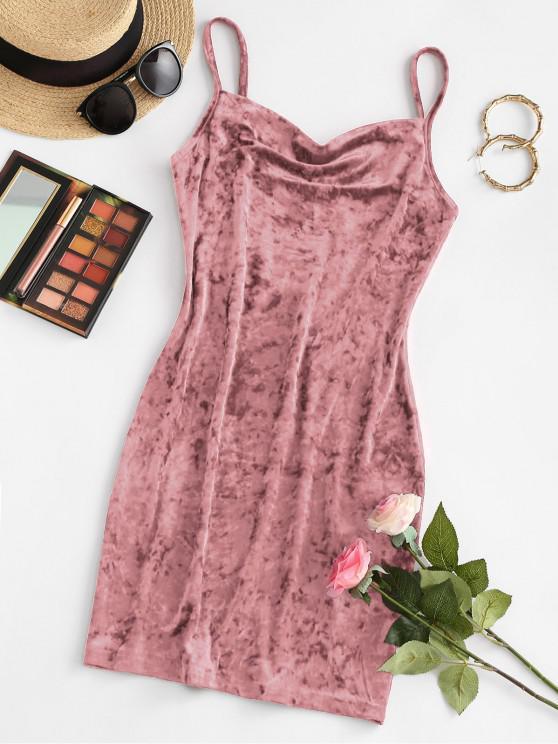 ZAFUL Cowl Front Velvet Mini Dress - زهري L