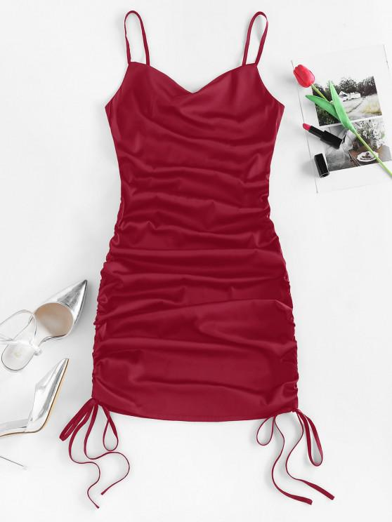 chic ZAFUL Satin Cinched Cowl Front Mini Dress - RED WINE S