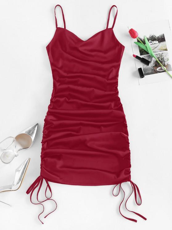 ZAFUL Satin Cinched Cowl Front Mini Dress - نبيذ احمر M