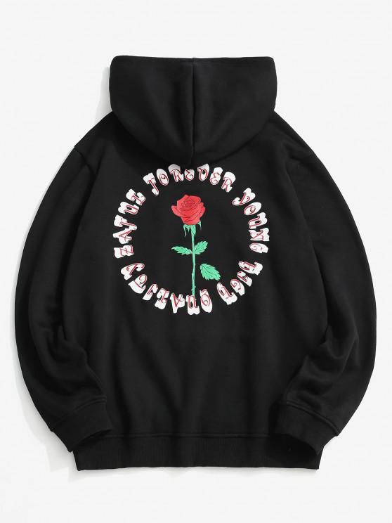 Rose Letter Fleece Lined Hoodie - أسود 2XL