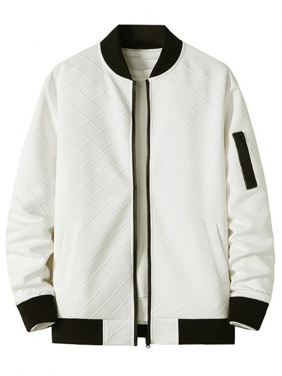 affordable Zipper Pocket Grid Jacquard Zip Up Jacket - WHITE XL
