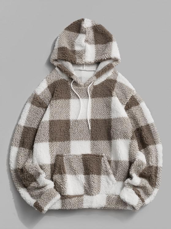 fashion Fluffy Plaid Pattern Hoodie - WHITE 2XL