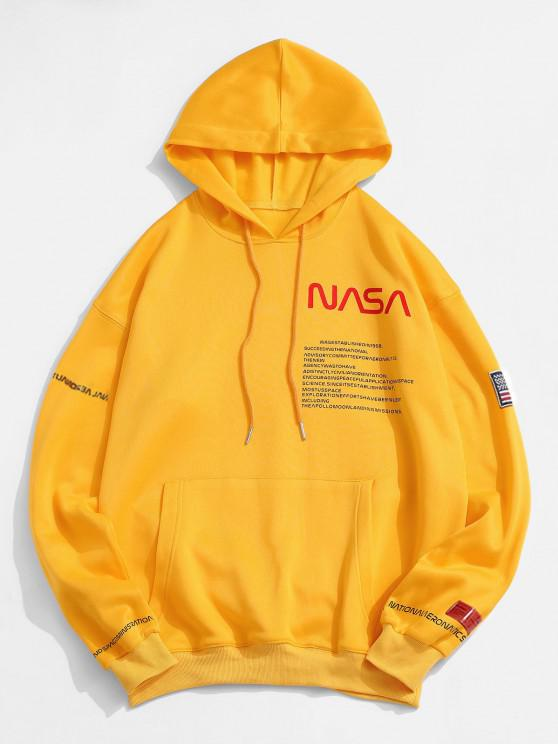 ladies ZAFUL American Flag Patched Drawstring Pocket Hoodie - YELLOW M