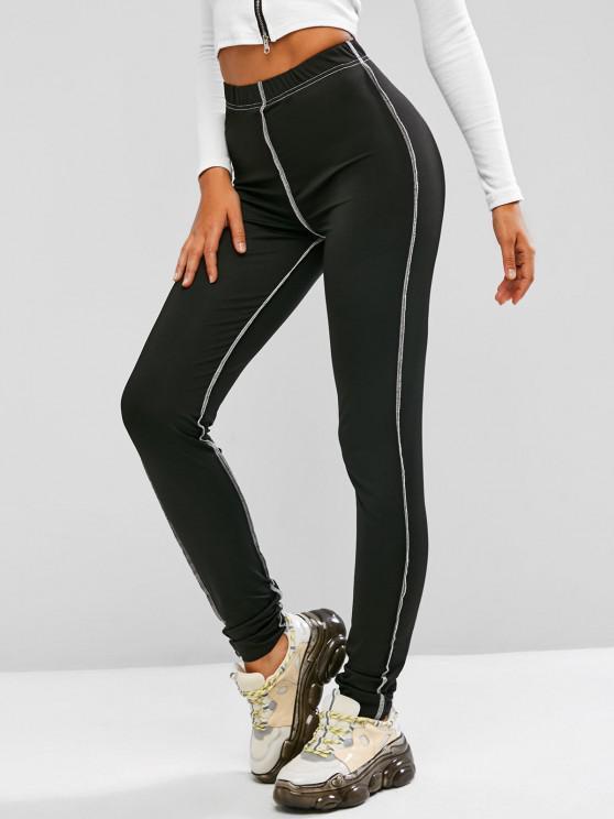 women's Topstitching High Rise Leggings - BLACK S