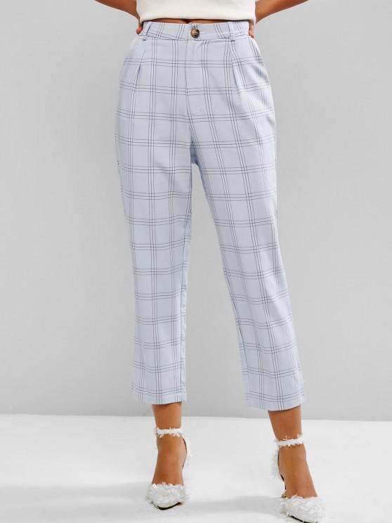 women Windowpane Check High Waist Tapered Pants - LIGHT BLUE S