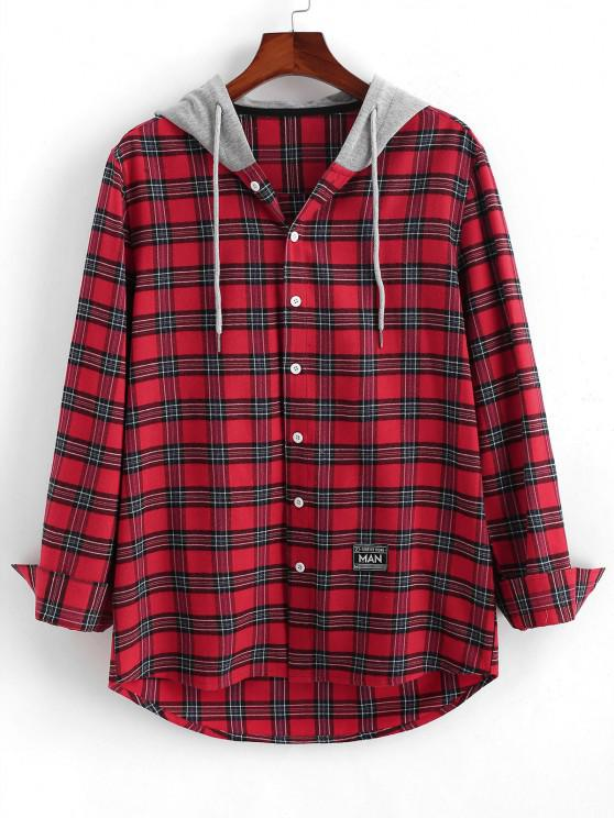 outfit Colorblock Hooded Plaid Shirt - RED M