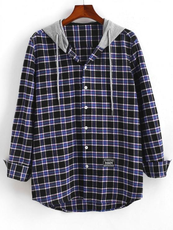 Colorblock Hooded Plaid Shirt - ازرق غامق S