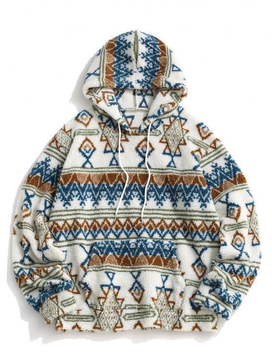 Teddy Tribal Geometric Pattern Hoodie - أبيض 2XL