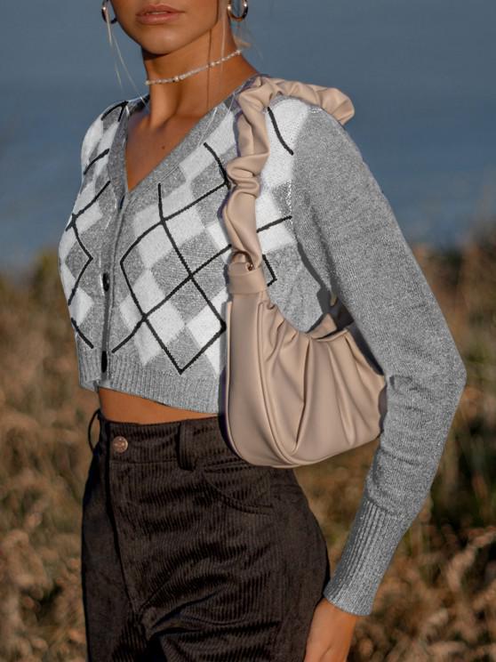 lady Argyle Button Up V Neck Crop Cardigan - LIGHT GRAY ONE SIZE