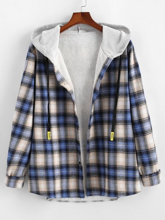 Plaid Fluffy Lined Colorblock Hooded Shirt Jacket - أزرق M